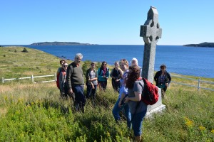 Folklore students at old cemetery