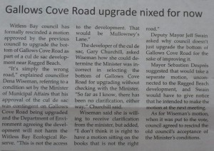 Gallows Cove road upgrade nixed for now