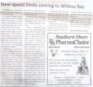 """New Speed Limits coming to Witless Bay"""