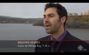 Sébastien Després interviewé par Radio-Canada à Witless Bay