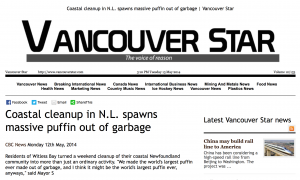 Vancouver Star - Coastal Cleanup in NL Spawns Massive Puffin out of Garbage