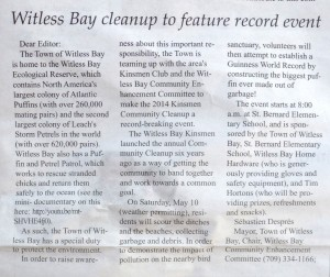 """Witless Bay Cleanup to Feature Record Event"""
